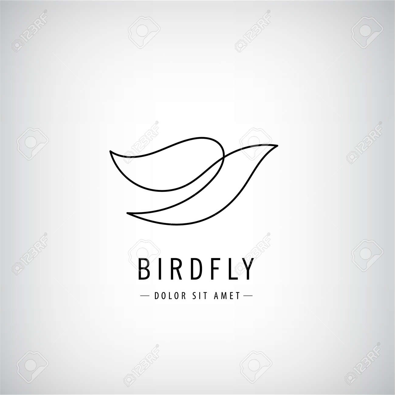 Vector one line bird logo, flying silhouette, continuous monoline concept, abstract icon, sign isolated. Use for print, brand, tatoo, art - 170567490