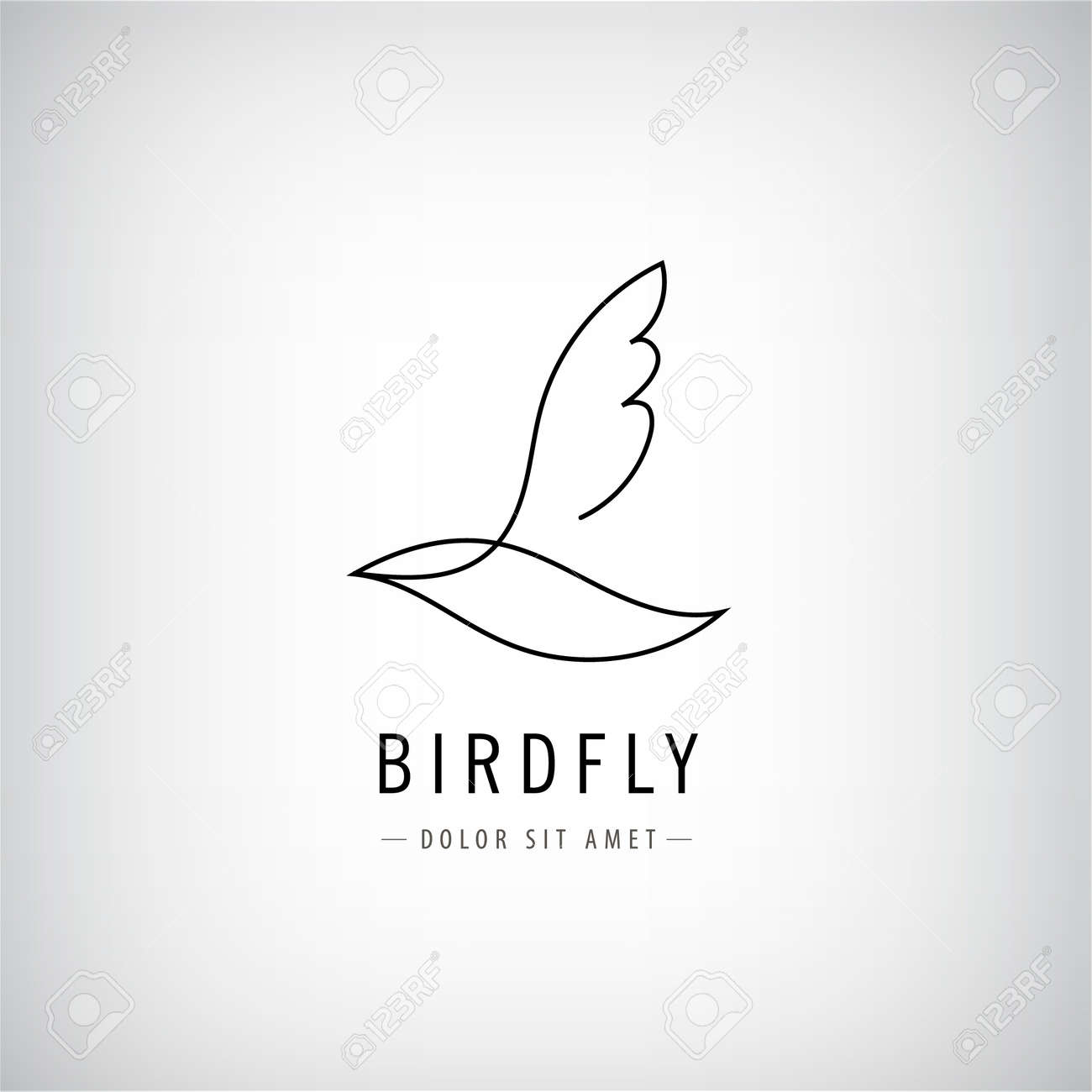 Vector one line bird logo, flying silhouette, continuous monoline concept, abstract icon, sign isolated. Use for print, brand, tatoo, art - 171129373