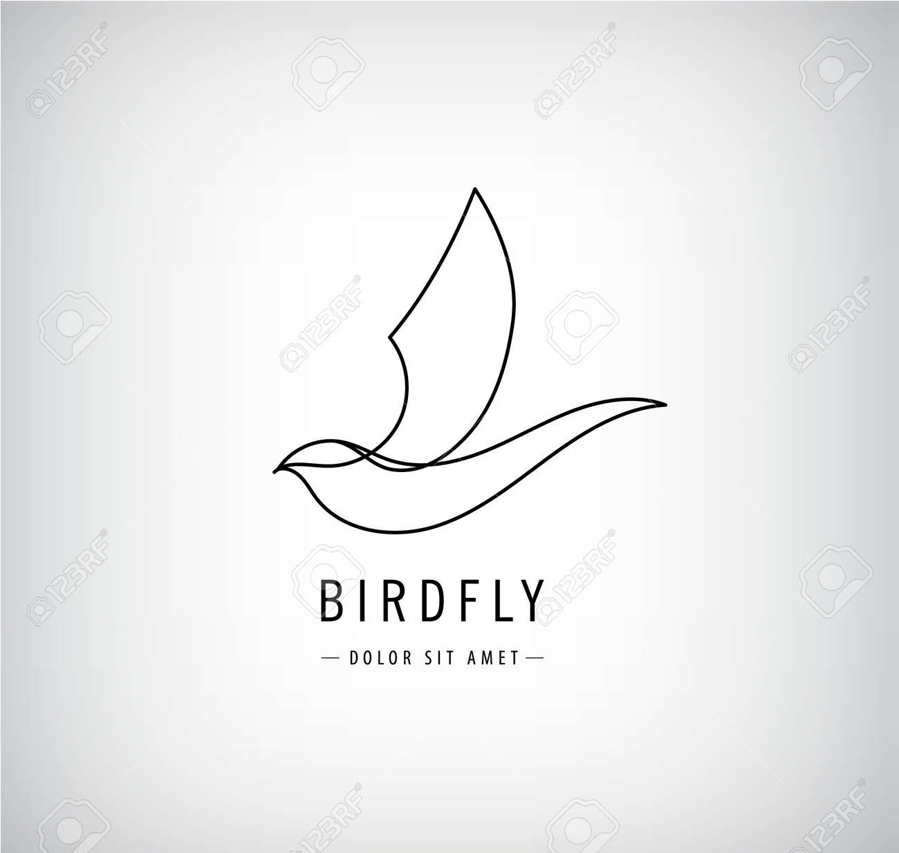 Vector one line bird logo, flying silhouette, continuous monoline concept, abstract icon, sign isolated. Use for print, brand, tatoo, art - 171129377