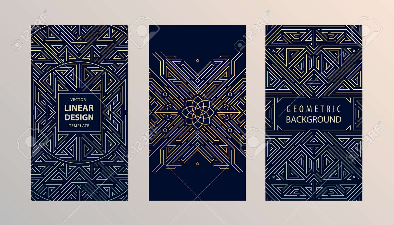 Vector set of monogram design in trendy vintage and mono line style with space for text - abstract geometric frames, luxury packaging templates. Use for ad, poster, card, cover, stories - 171093121
