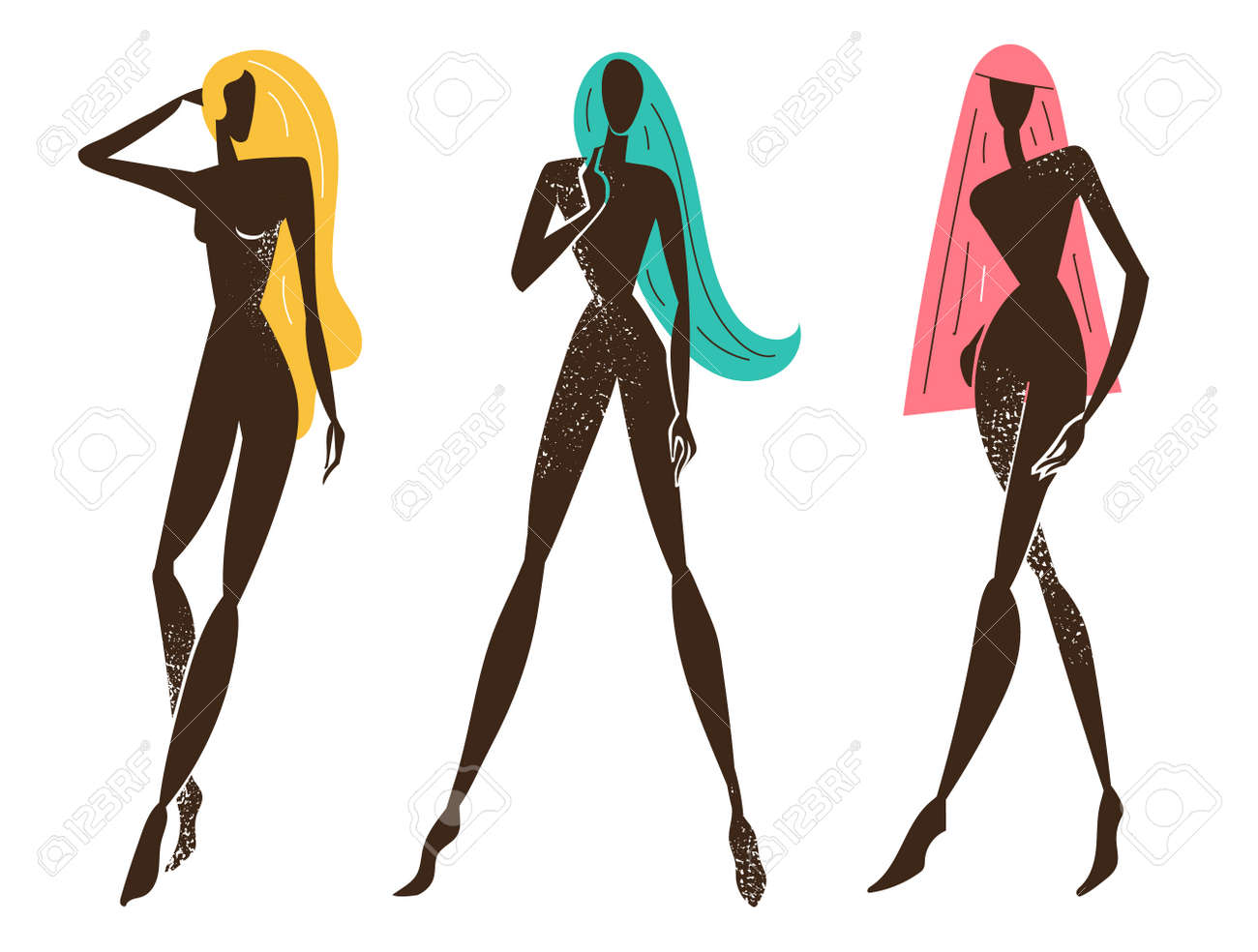 Vector set of stylized women standing, long hair, black textured silhouettes. Feminine concept, art illustration. Use as poster, print for t-shirt, design element for beauty products - 171129387