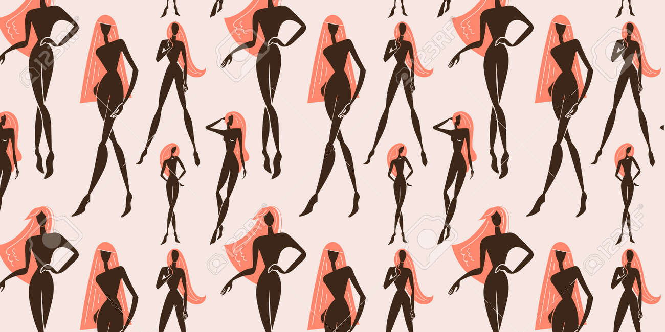 Vector seamless feminine, woman standing in various poses pattern. Silhouettes illustration. - 171129390