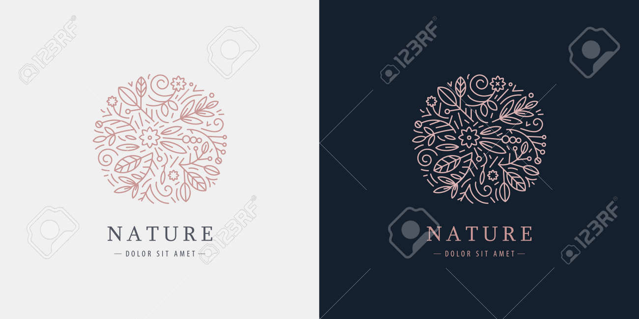 Vector linear plant logo. Circle luxury organic emblem. Abstract badge for natural products, flower shop, cosmetics, ecology concepts, health, spa, yoga center. Leaves and florals - 171999781