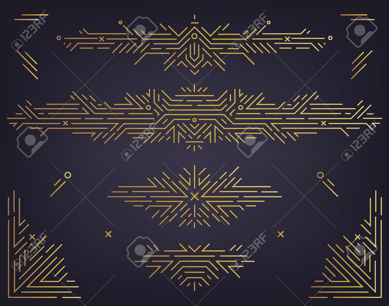 Vector set of art deco linear dividers, borders, frames, decorative design elements. Creative geometric abstract templates in classic retro style of 1920s. Use for packaging, ad, as banner - 171373512