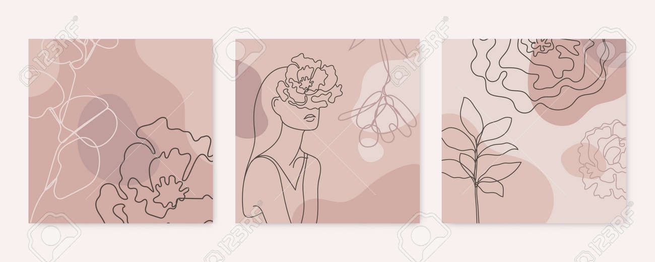 Vector beauty backgrounds, social media stories, posts feed layouts. Set of illustrations with one line continuous woman face and leaves. Contemporary collage with geometric shapes. - 171999790