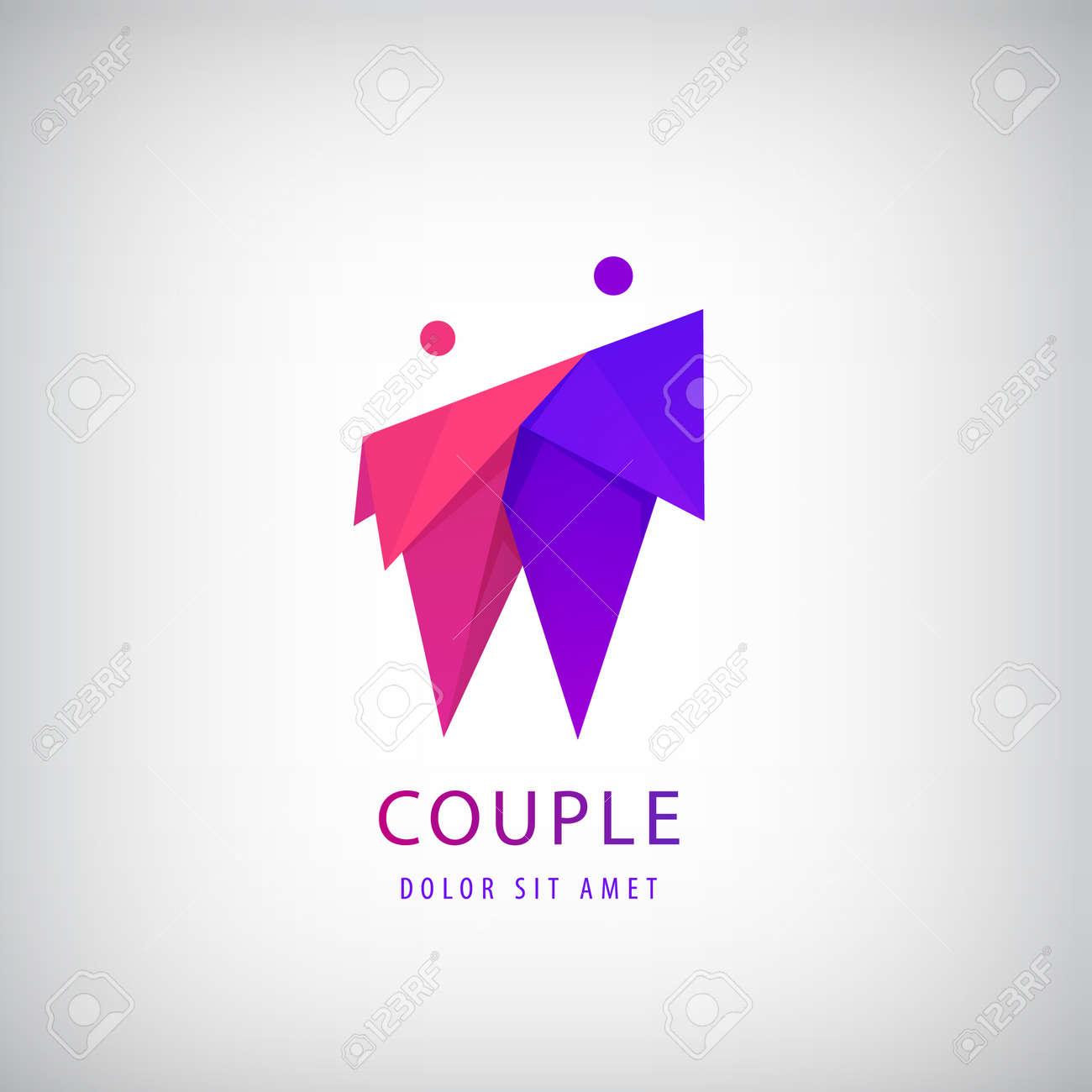 Vector 2 men logo, team icon, cooperation sign. Origami couple. People identity, partnership logotype. Hug and embrace - 171948874