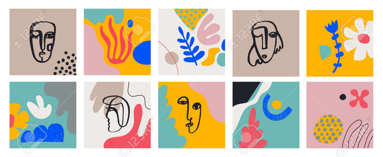 Vecto set of cards with hand drawn Faces, Leaves, Flowers, abstract shapes. Doodle, art modern posters. Contemporary collage blob illustrations. Continuous line, minimalistic concept - 171495740