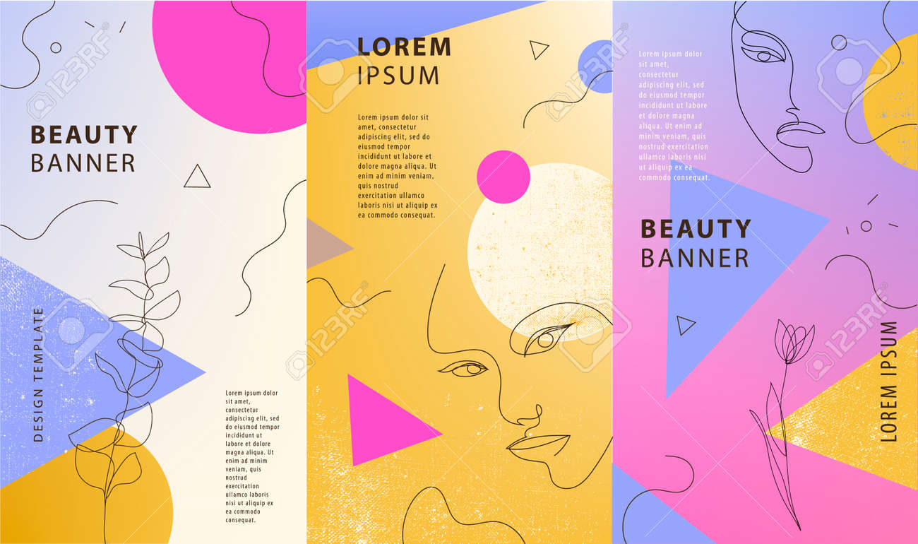 Vector set of gradient covers for social media stories, cards, flyer, poster, mobile app, banners. Geometric shapes and continuous line woman portraits - 171495742