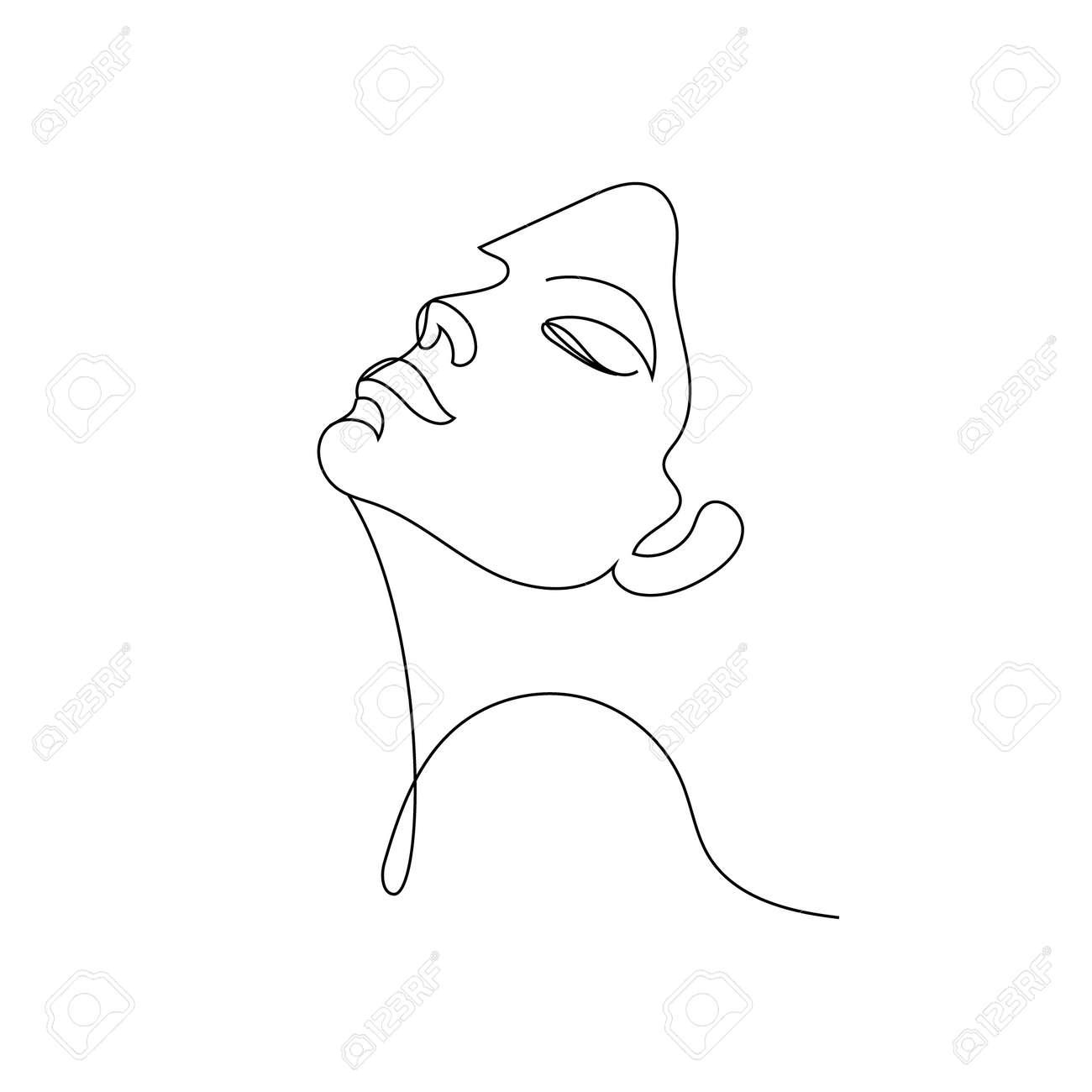 Vector linear face art, woman portrait Continuous line, fashion beauty concept, woman minimalist, illustration pretty - 171967926