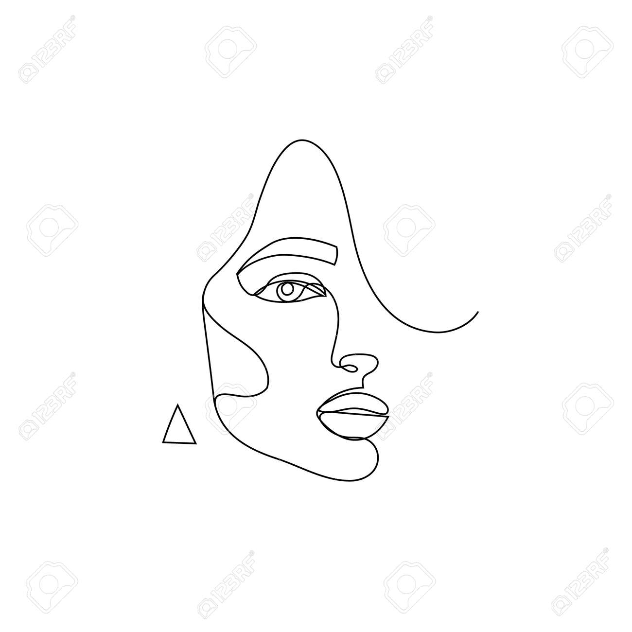 Vector linear face art, woman portrait Continuous line, fashion beauty concept, woman minimalist, illustration pretty - 171967927