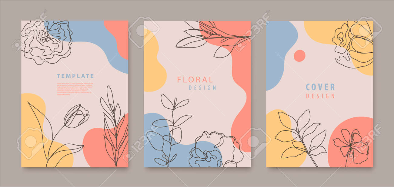 Vector set of continuous line flowers, leaves covers, banners, posters, cards, social media stories, flyers design templates. Trendy design with waves, pastel - 171671436
