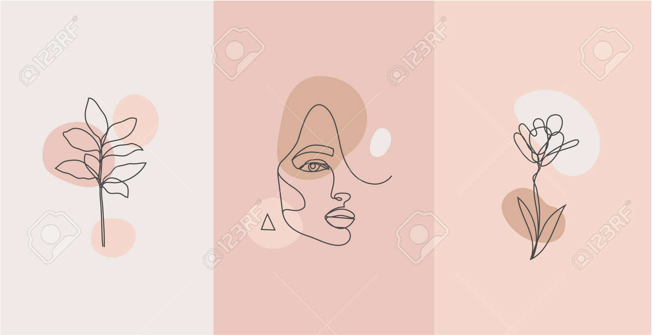 Vector minimalist style portrait. Line plant, woman portrait. Hand drawn abstract feminine print. for social net stories, beauty logos, poster illustration, card, t-shirt print. Art woman line face. - 171748497