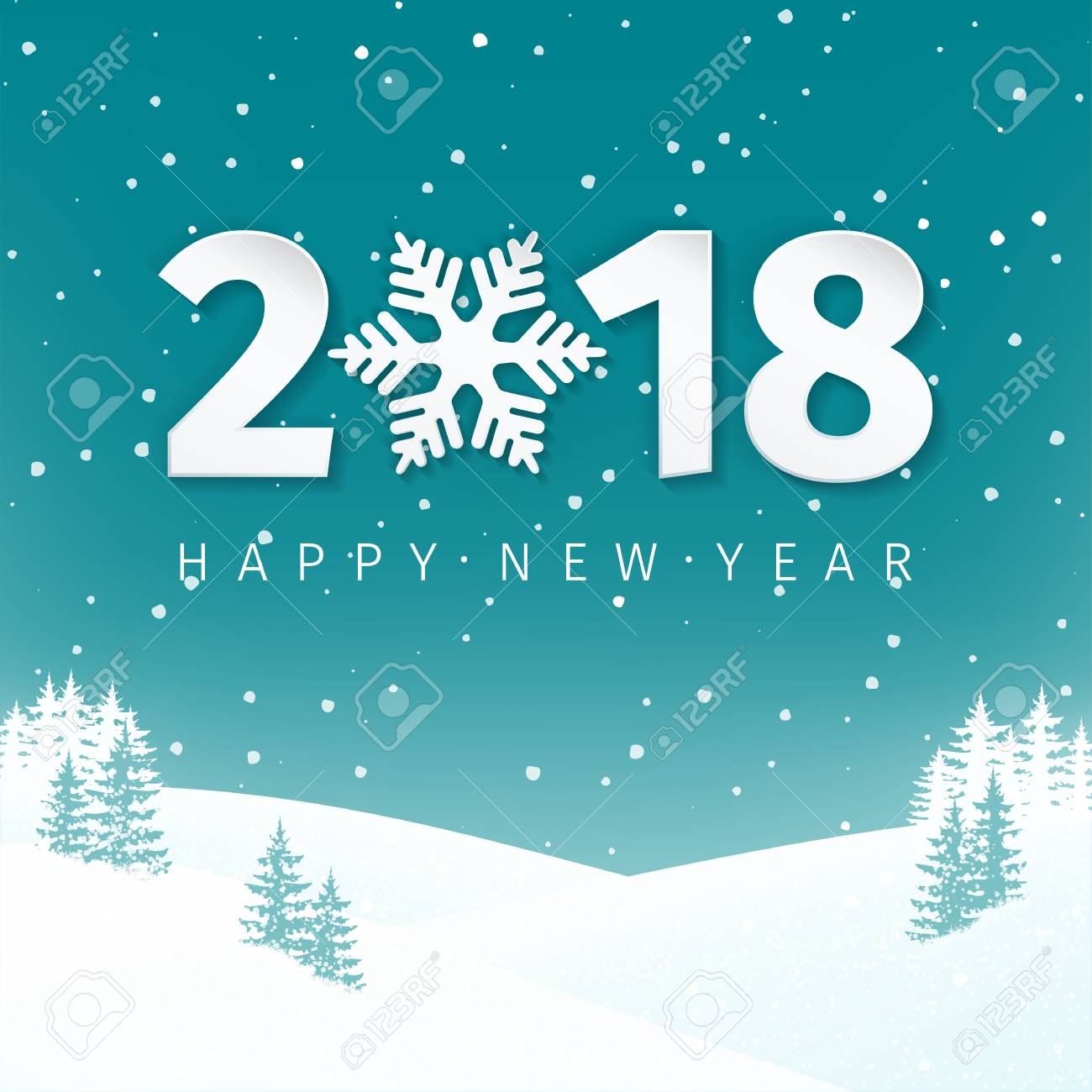 night winter scene landscape background with snowy field and fir trees happy new year 2018