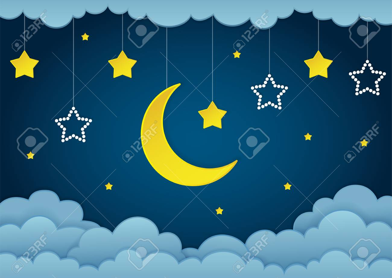 half moon stars and clouds on the dark night sky background