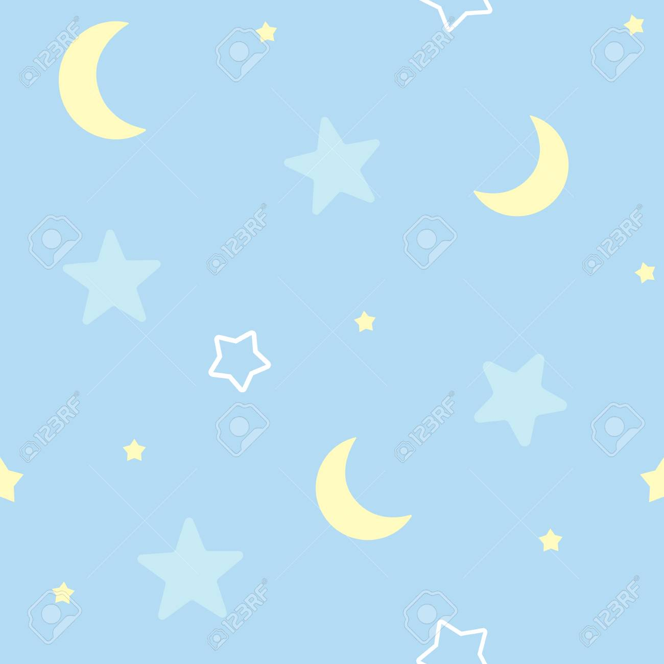 Cute Seamless Pattern Background With Stars And Moon Children S