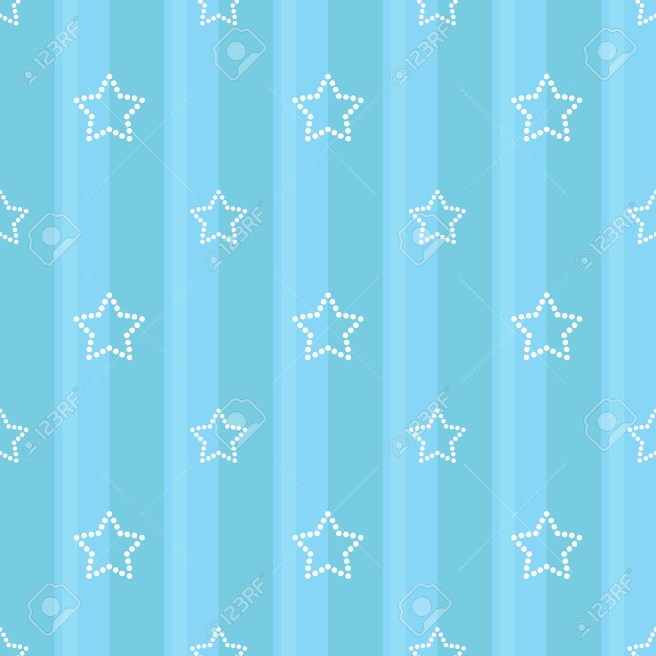 Striped Seamless Blue Pattern With Dotted Stars Children S Bedroom