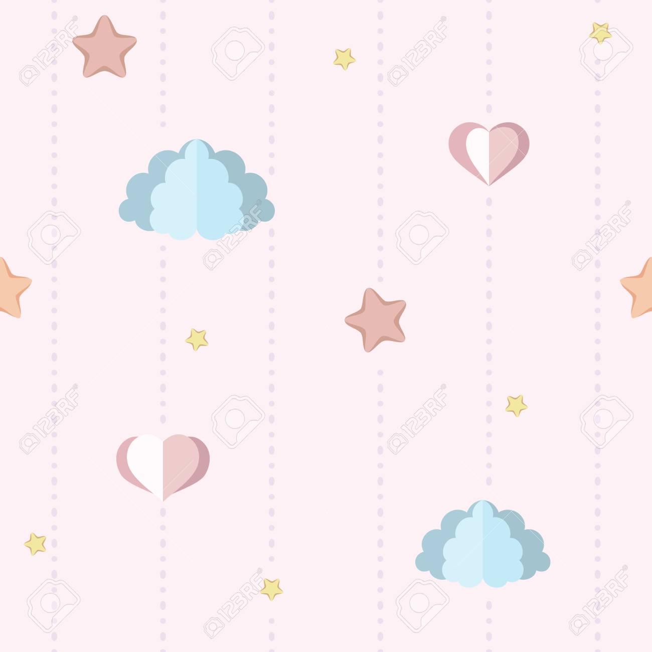 Cute Nursery Children S Bedroom Wallpaper With Paper Clouds