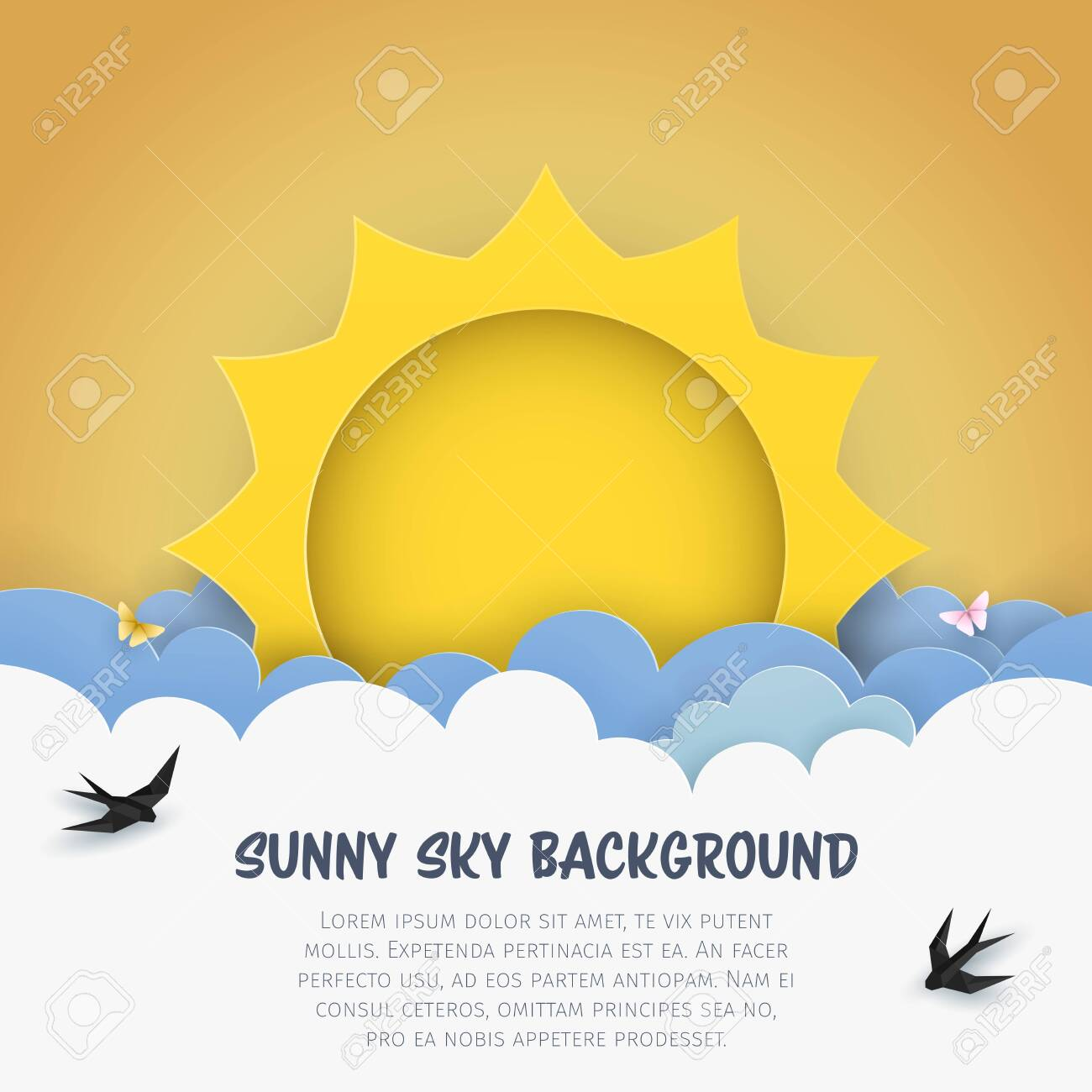 Cartoon Cloudscape Background With Sun Clouds Flying Birds Royalty Free Cliparts Vectors And Stock Illustration Image 121649319