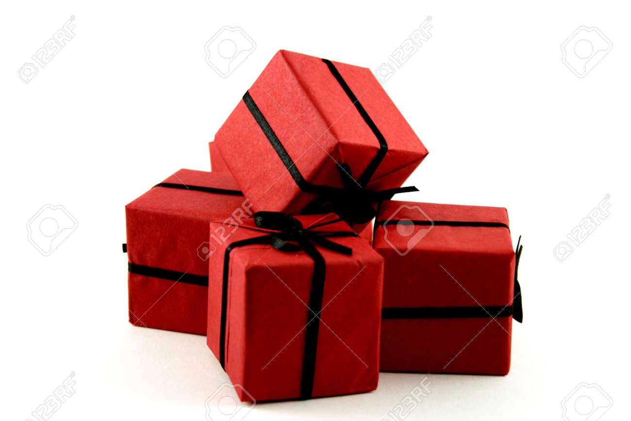 little red gifts isolated over white Stock Photo - 2426214