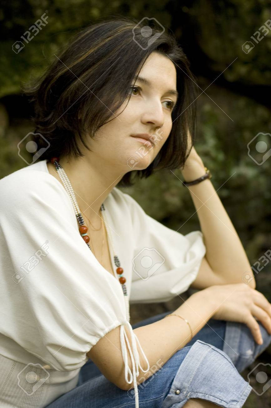 closeup portrait of unhappy brunet woman Stock Photo - 3437378