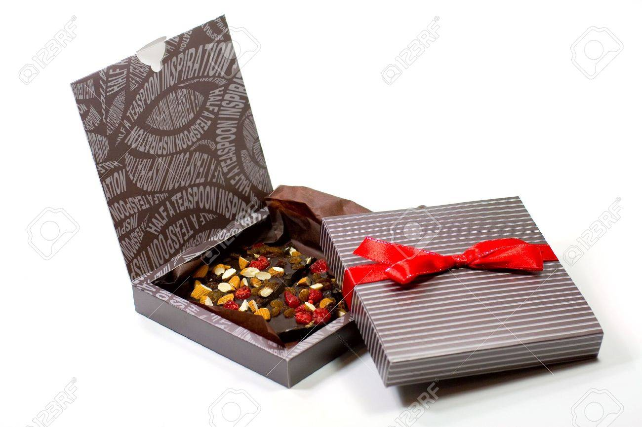 two gift boxes with chocolate on white background Stock Photo - 3976167