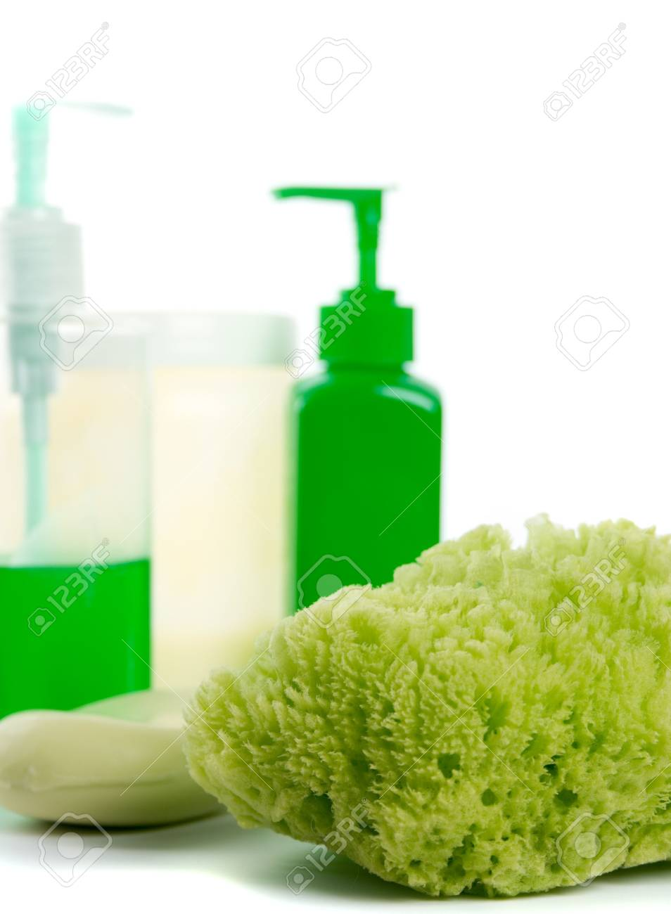 natural sponge, soap and body lotion on white background Stock Photo - 4196883