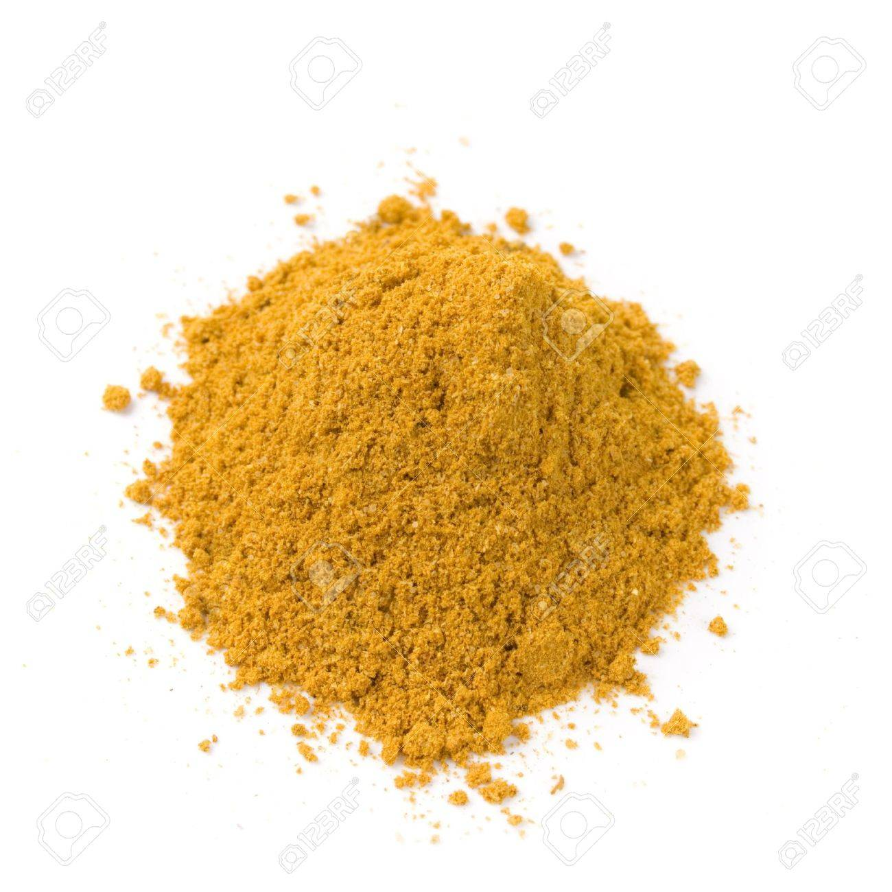 pile of bright curry powder isolated on white background - 4362894