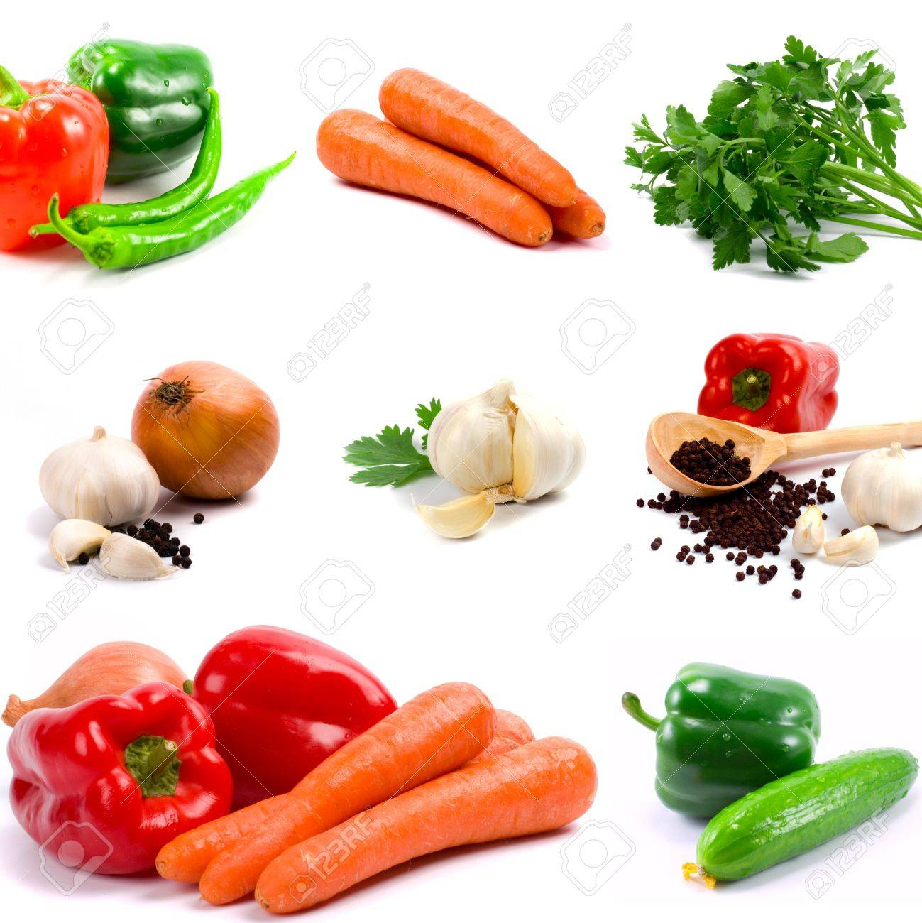 collection of vegetables on white background Stock Photo - 4849655