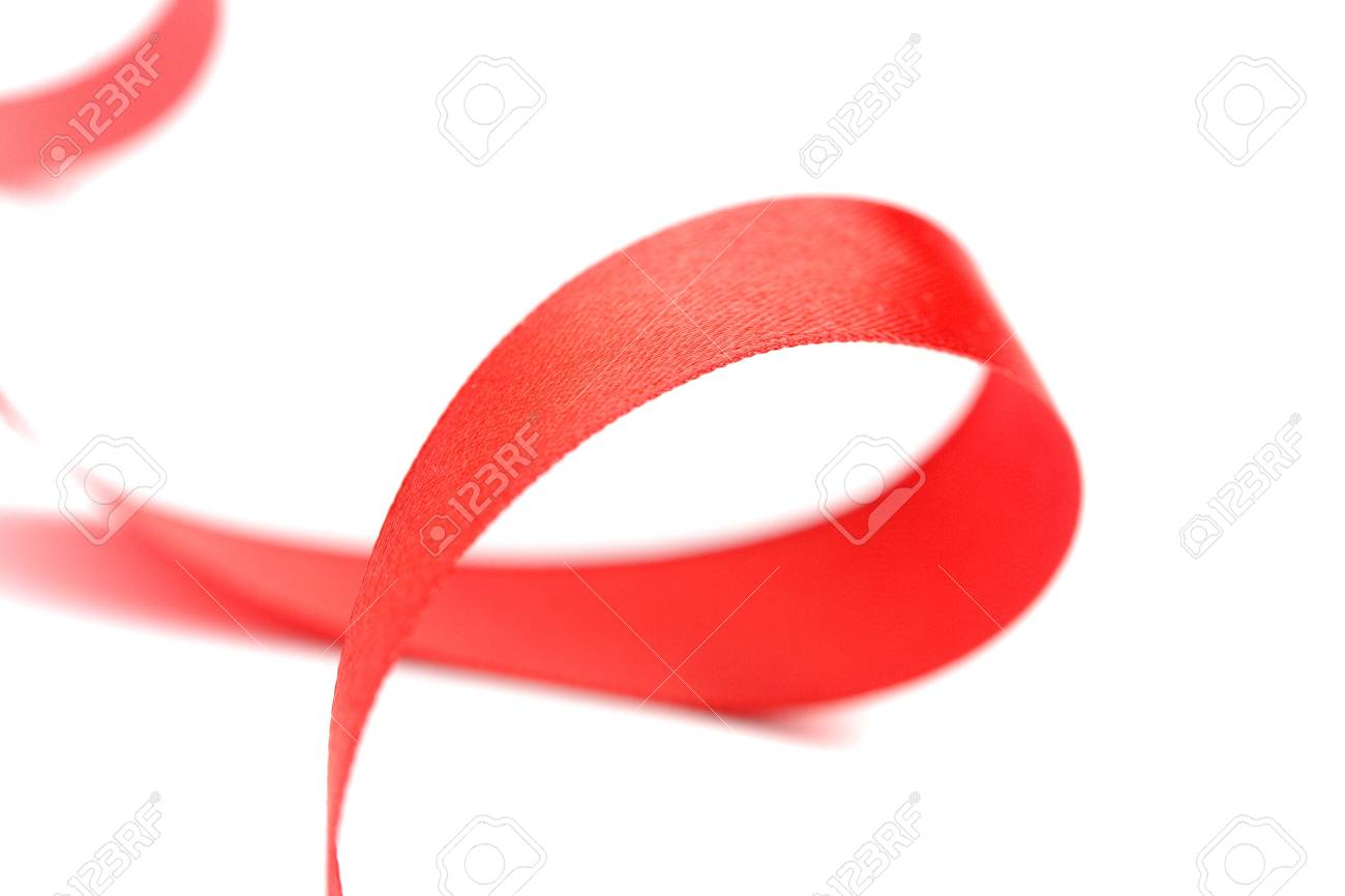 red satin ribbon closeup on white background Stock Photo - 5733381