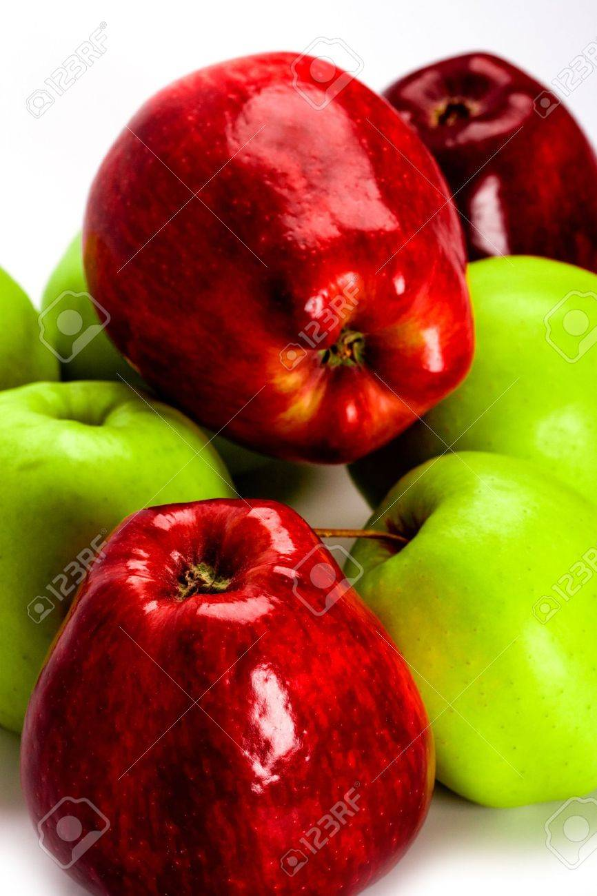heap of green and red apples closeup Stock Photo - 6070807