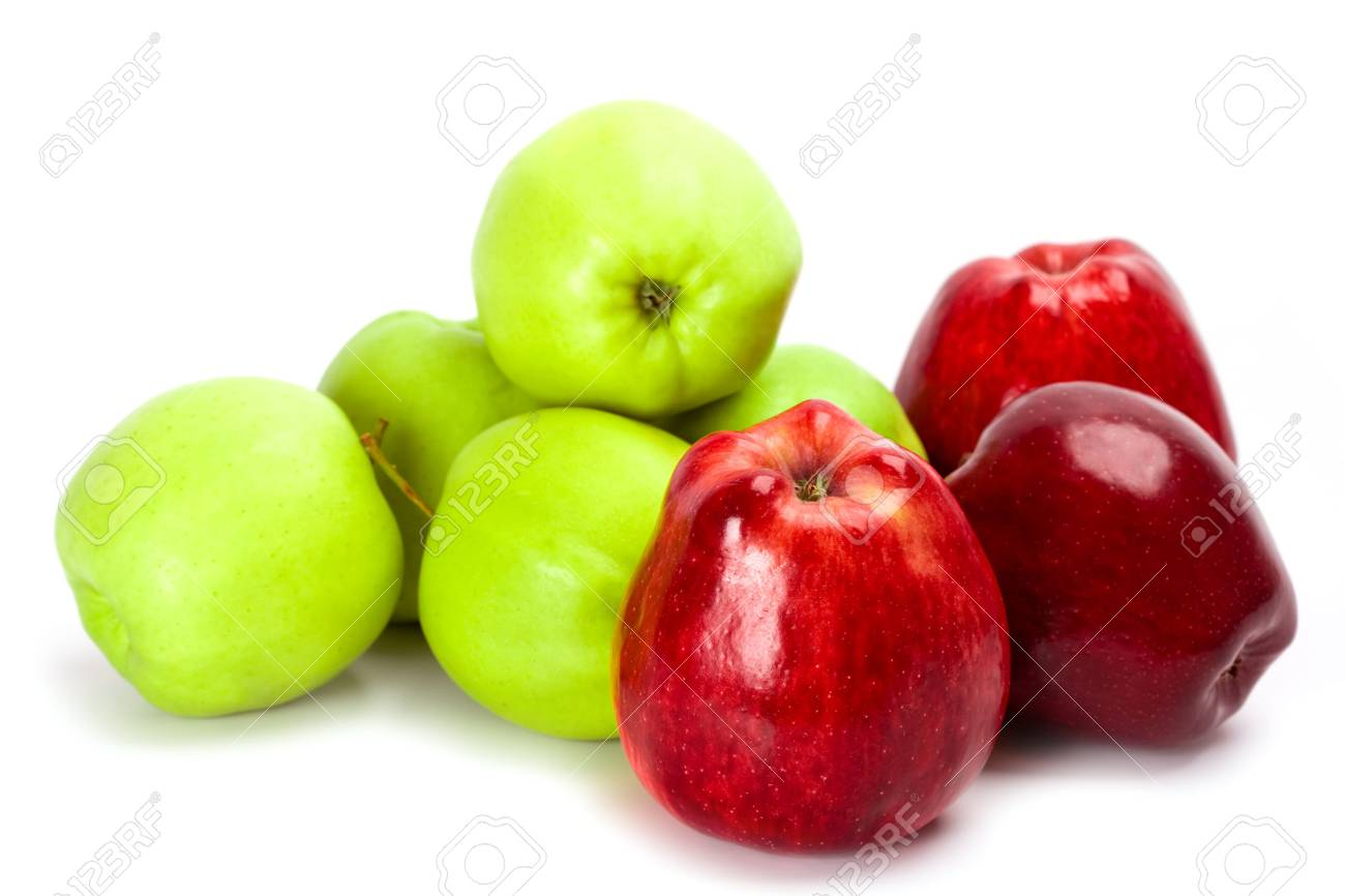 heap of green and red apples isolated on white background Stock Photo - 6349696