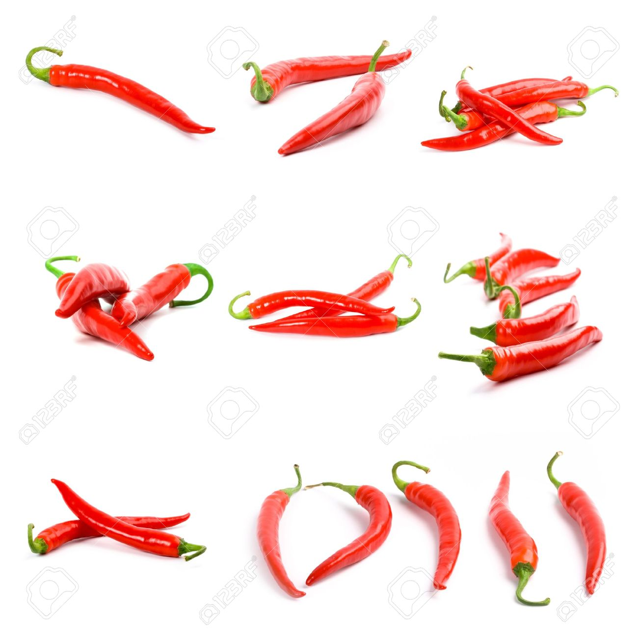 collection of red chili peppers isolated on white background Stock Photo - 6485792
