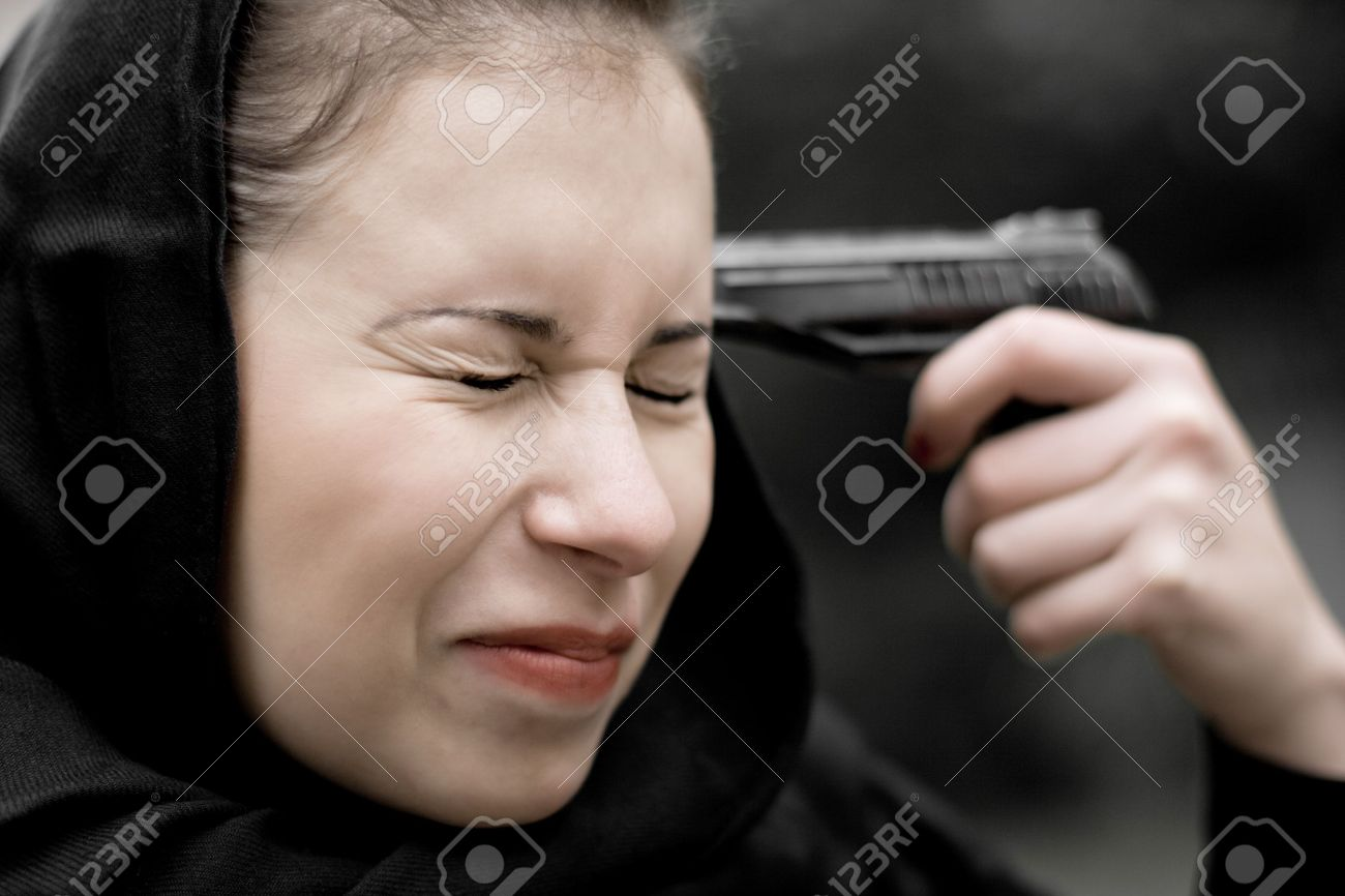 closeup portrait of suicide woman in black Stock Photo - 7635454