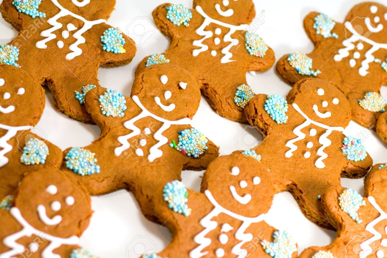 fresh baked gingerbread men cookies with decorations closeup Stock Photo - 7717009