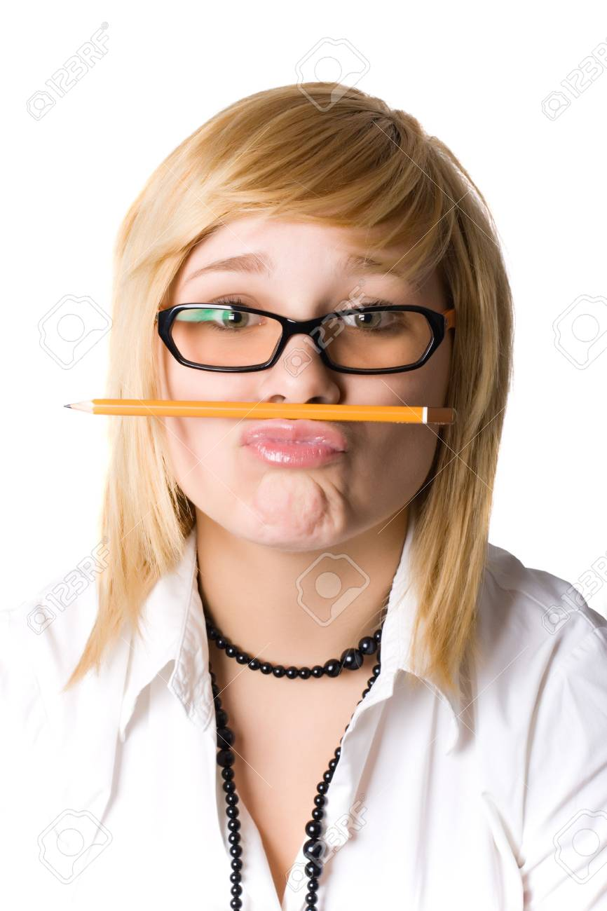 young businesswoman with pencil on white background Stock Photo - 7981551