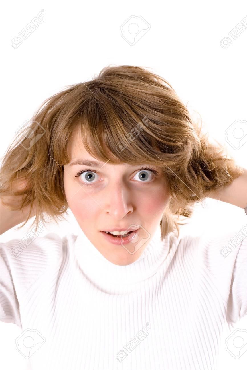 closeup portrait of surprised pretty woman in white Stock Photo - 8033366