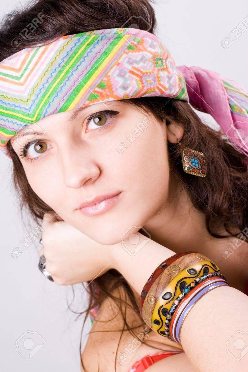 closeup portrait of beautiful young hippie woman Stock Photo - 8316570