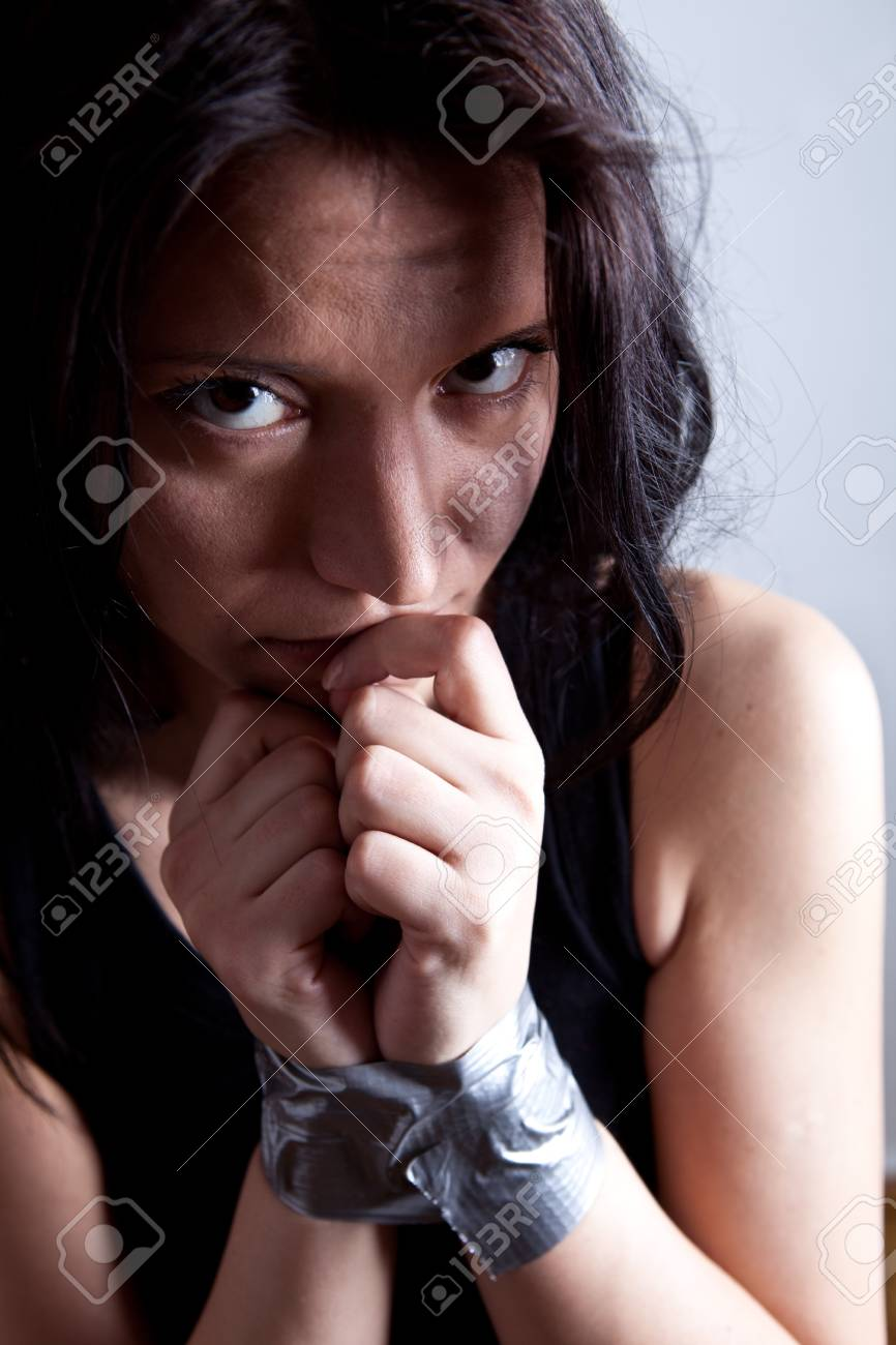 kidnapped young woman, hostage closeup Stock Photo - 8986347