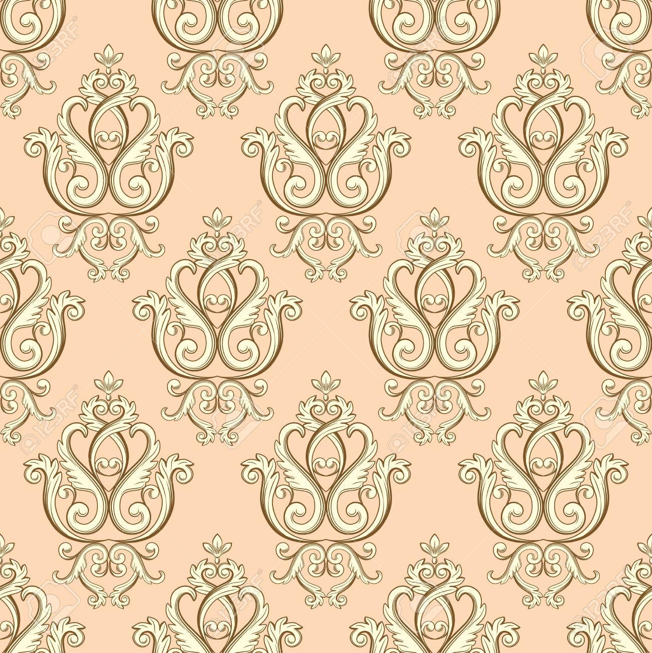 Seamless Damask Pattern. Beige Texture In Vintage Rich Royal Style. Vector  Illustration. Can