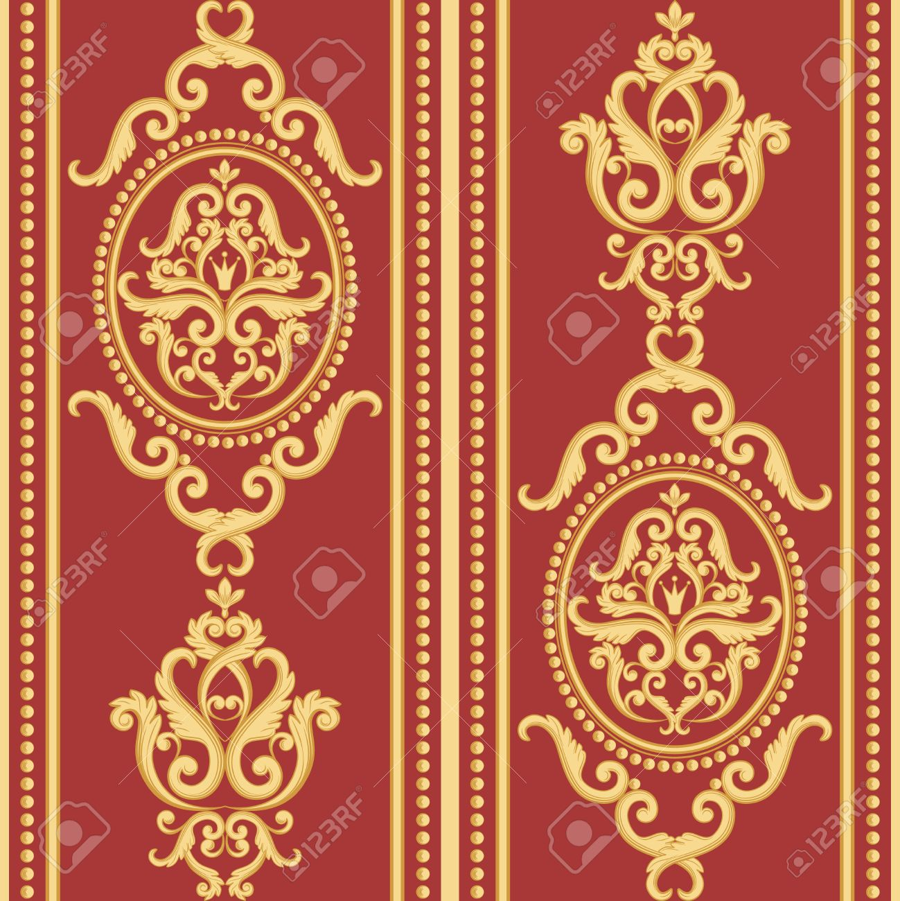 Seamless Damask Pattern. Gold And Red Texture In Vintage Rich ...