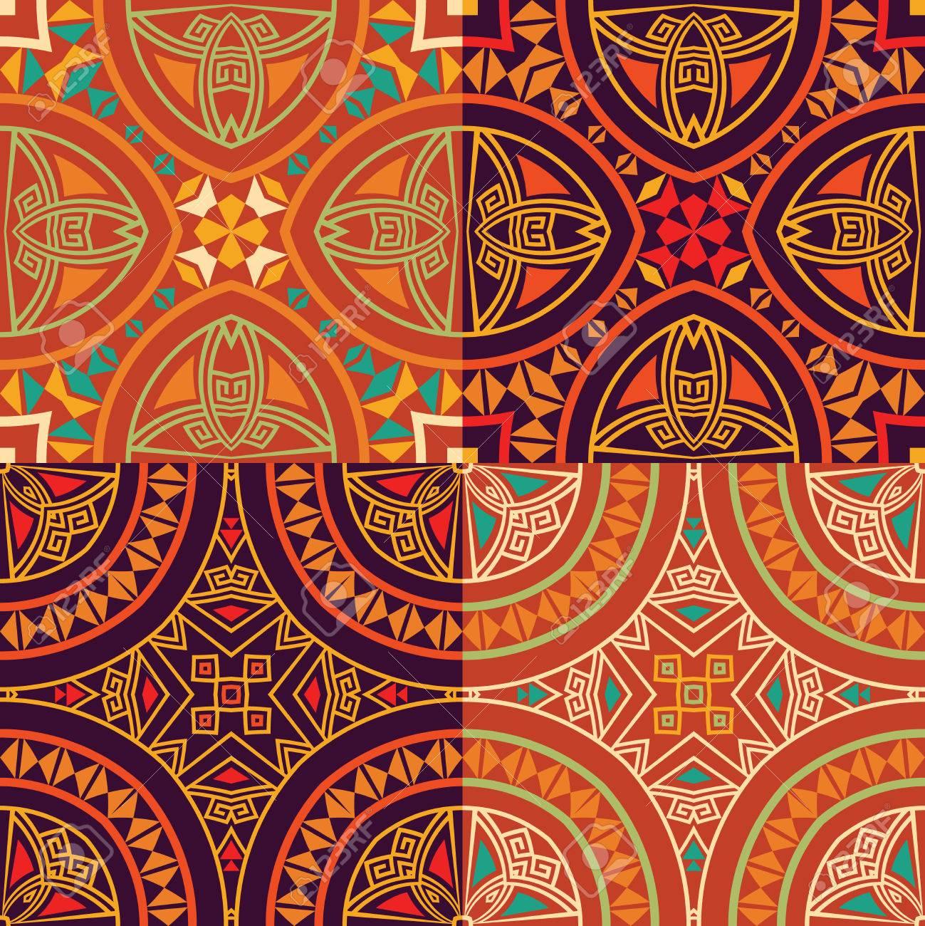Establecer Colección De Cuatro Patrones Sin Fisuras étnicas Tribales