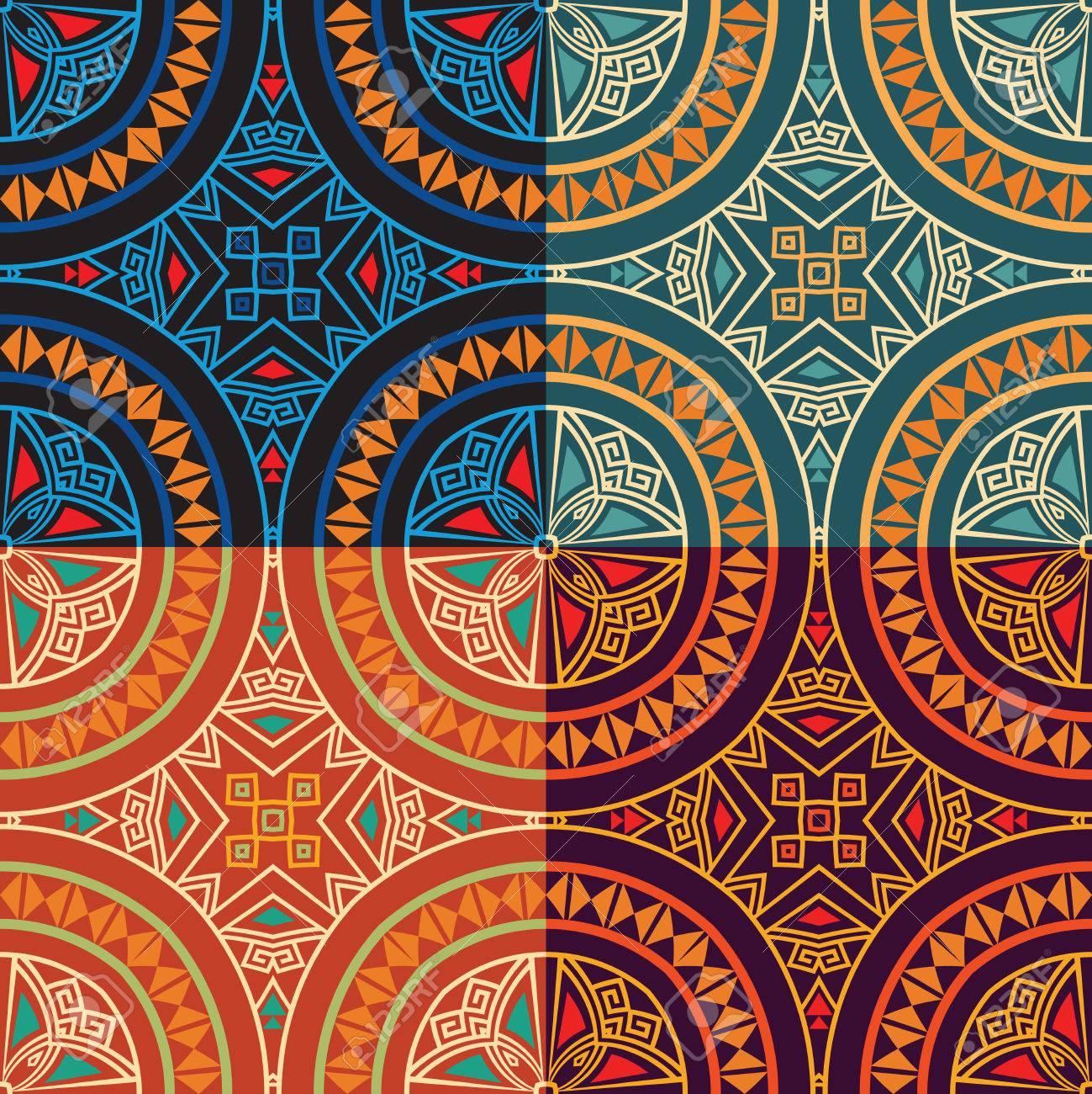 6909a21aa859e3 Banque d images - Régler la collection de quatre mêmes motifs colorés  ethniques colorés et homogènes en différentes couleurs. Bright textures  abstraites.