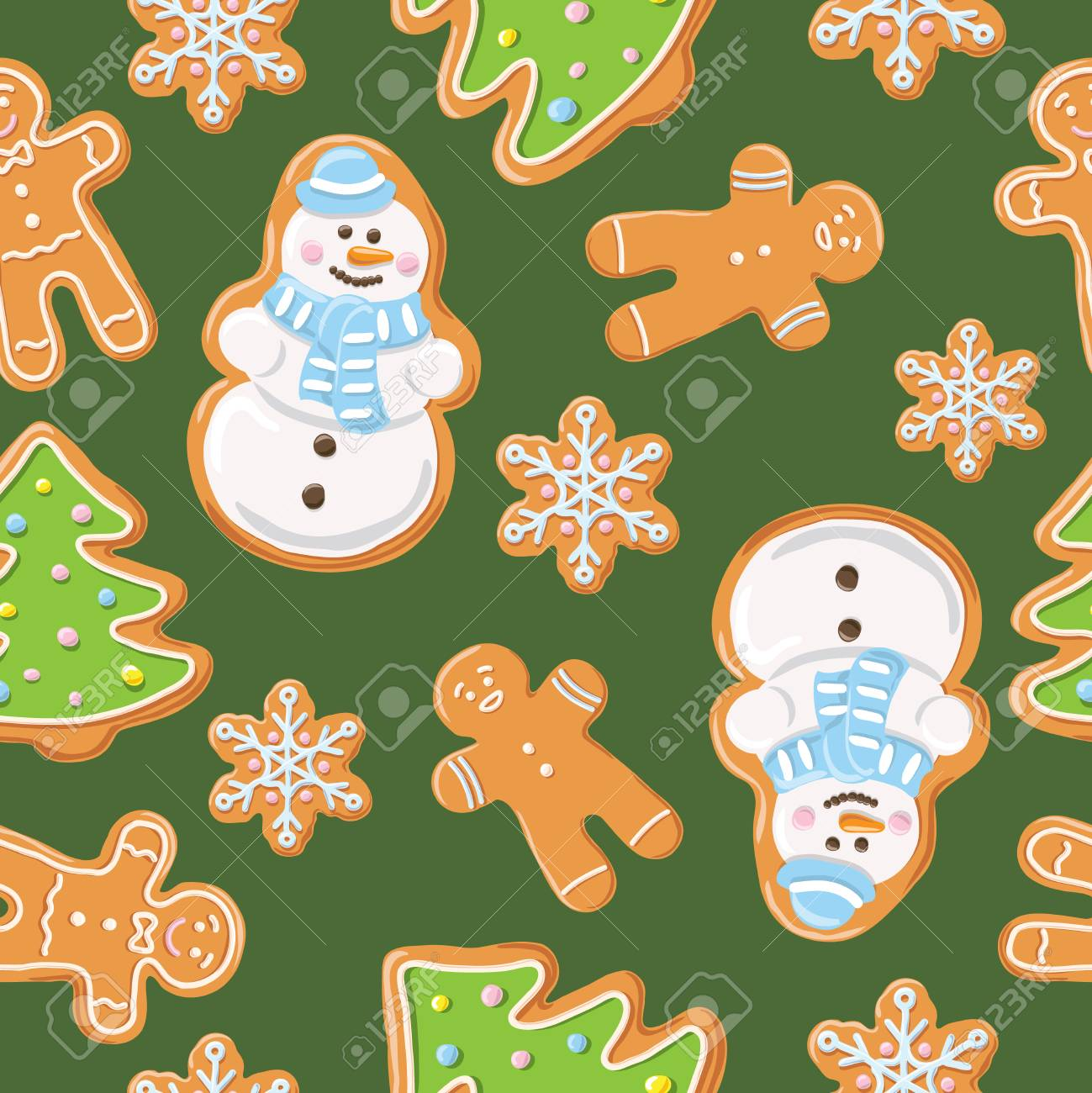 69686562 christmas gingerbread seamless pattern ginger cookies on green background vector illustration cute
