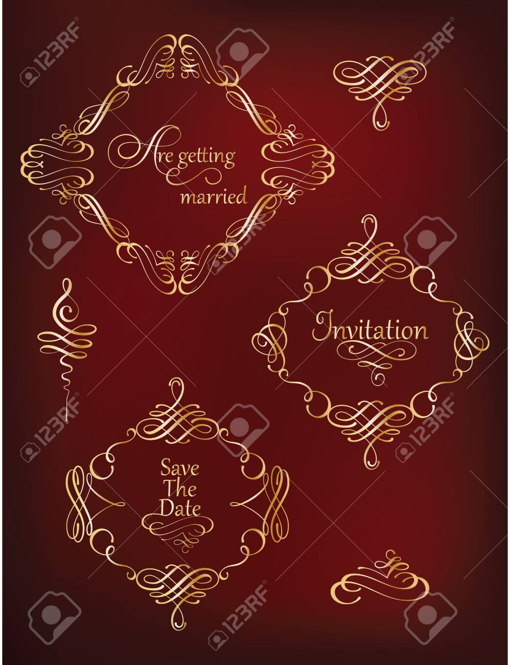Vector Set Of Calligraphic Elements And Page Decoration. Collection ...