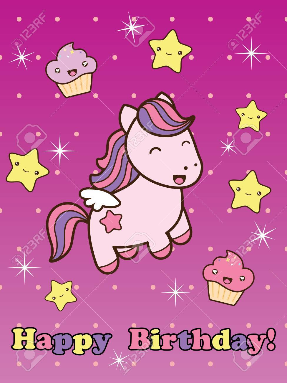 Happy Birthday Card With Cute Smiling Cartoon Horse Vector Illustration Childish Background