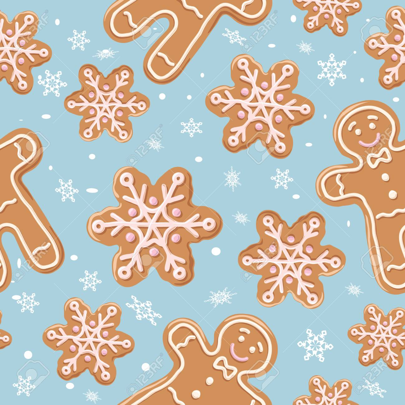 69148927 christmas gingerbread seamless pattern ginger cookies on blue background vector illustration cute