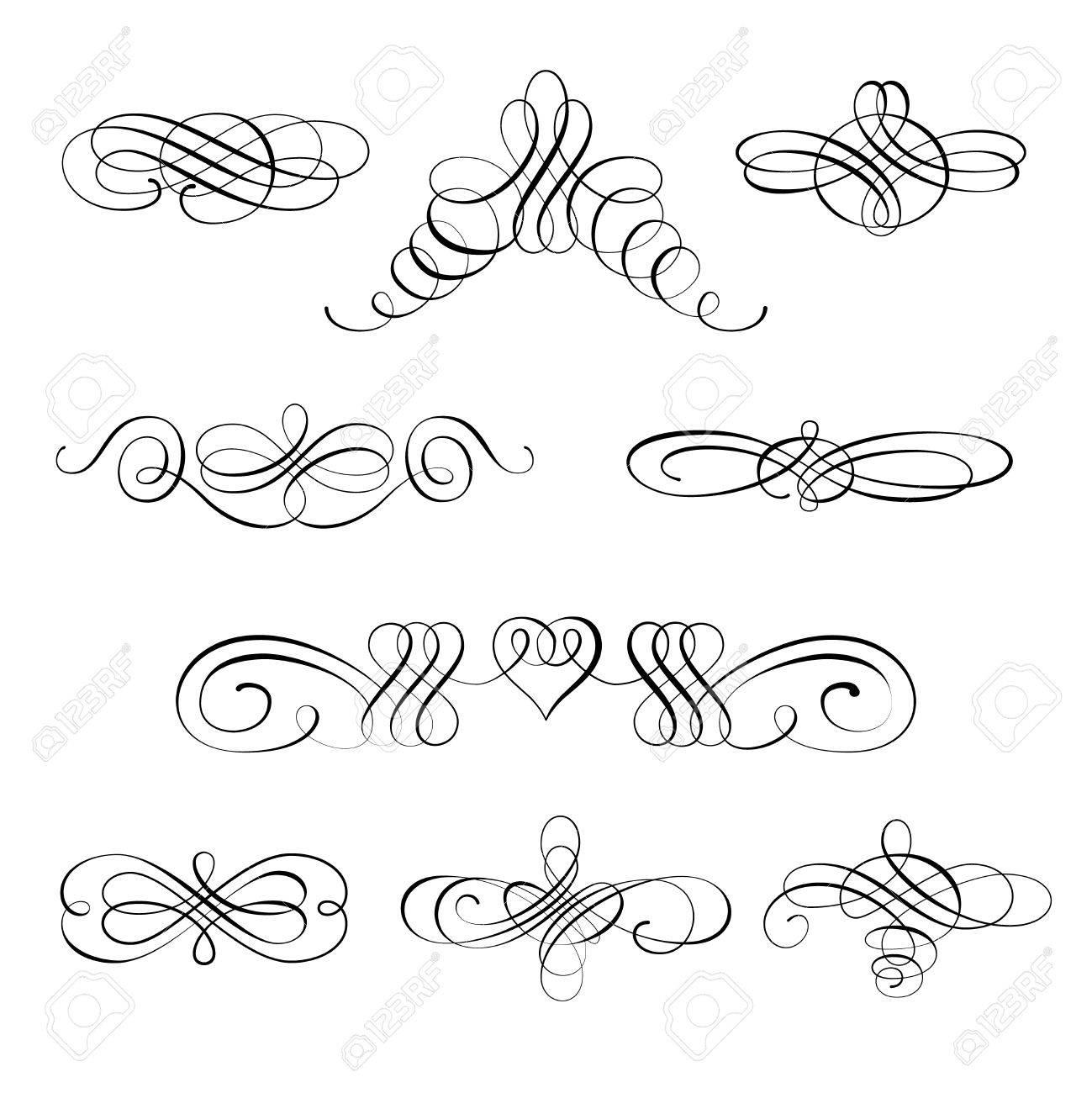 Decorazioni Lettere D Amore imposta la raccolta di elementi calligrafici e decorazioni di pagine. può  essere utilizzato per decorare carte, inviti, creare sfondi, modelli,  bordi,