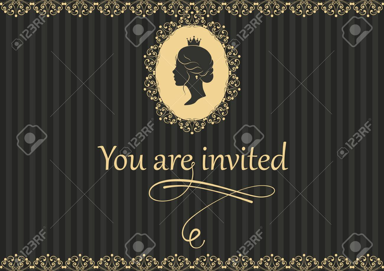 Conception De Carte D Invitation Vintage Cartes Postales Anciennes Belle Silhouette Feminine En Profil Des Cadres Vintage Mignons Avec Une