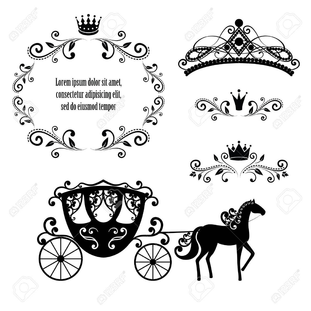 Elementos De Diseño, Marco De Realeza Vintage Con Corona, Diadema De ...