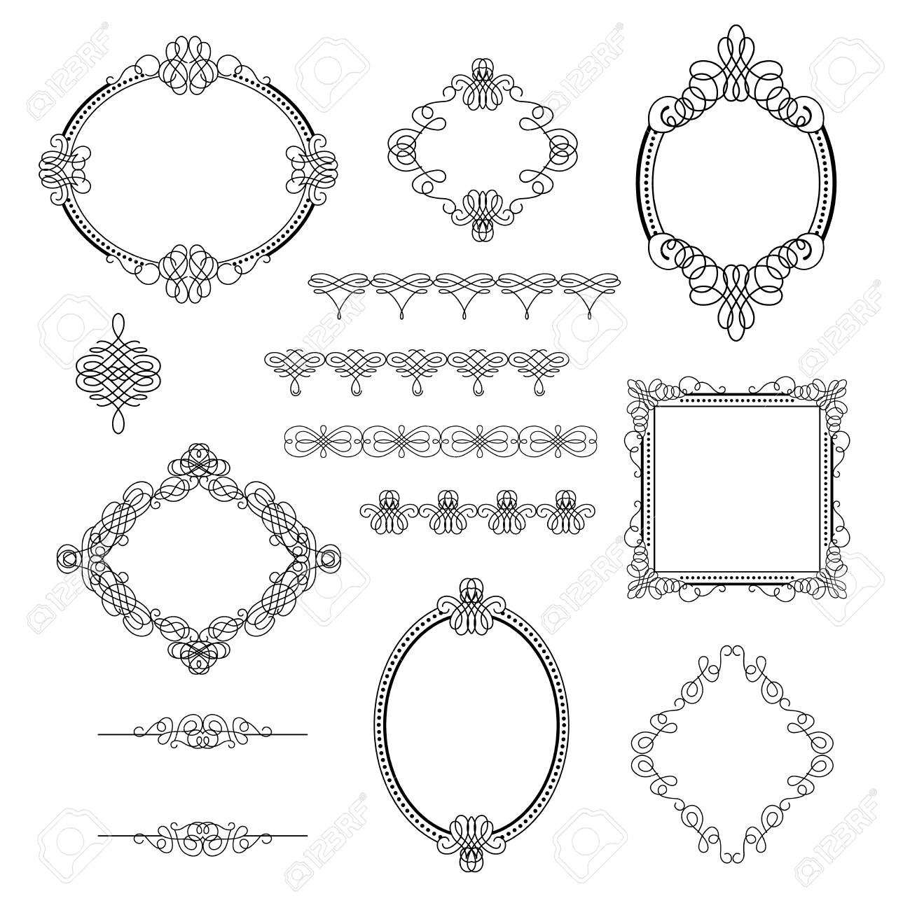 Stellen Sie Sammlung Kalligraphische Elemente, Rahmen, Zeichen Ein ...